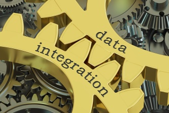 data integration concept on the gearwheels, 3D rendering
